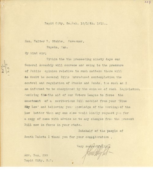 Letter from John Wight to Governor Walter Roscoe Stubbs - Page