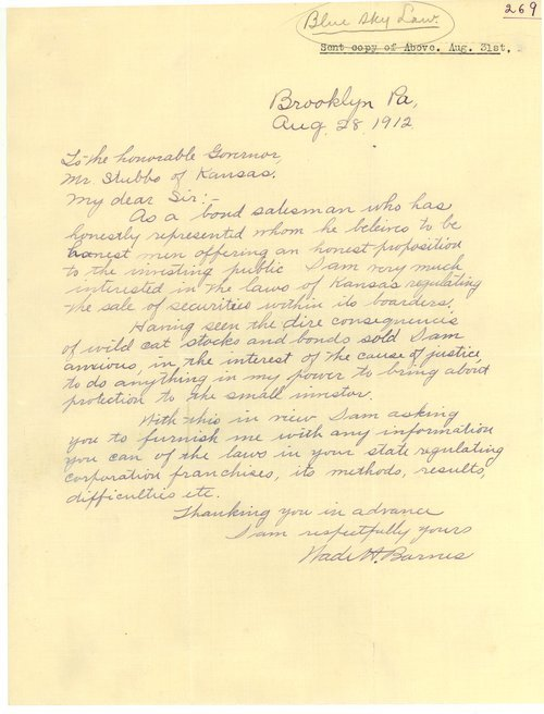 Letter from Wade H. Barnes to Governor Walter Roscoe Stubbs - Page