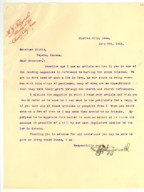 Letter from H. J. Fitzgerald to Governor Walter Roscoe Stubbs - Page