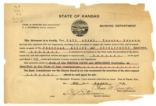 Kansas Banking Department certificate - Page