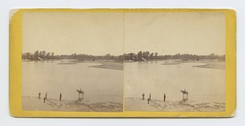 View looking up Kansas River towards Genl. [i.e. General] Dietzler's house, Lawrence, Kansas. 323 miles west of St. Louis Mo - Page