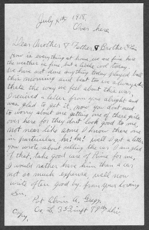 Alvin Artie Gregg, World War I soldier - Page