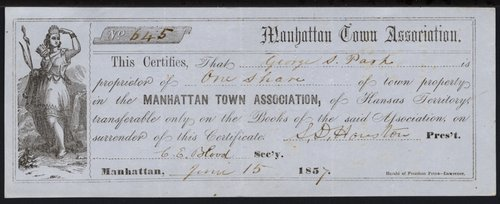 Manhattan Town Association share certificate - Page