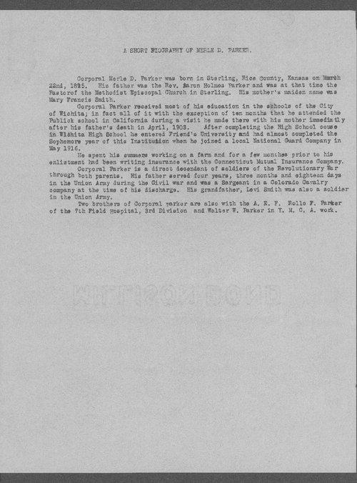Merle D. Parker, World War I soldier - Page