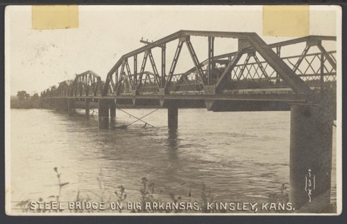 Steel bridge on the Big Arkansas River in Kinsley, Kansas - Page