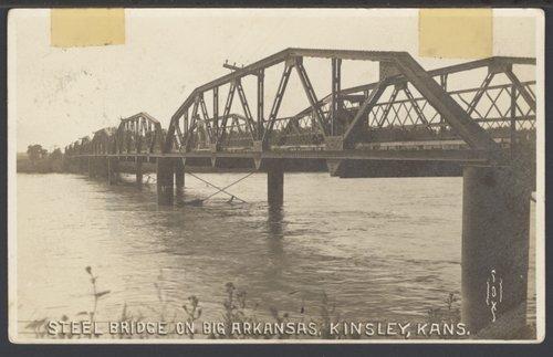 Steel bridge on the Big Arkansas River in Kinsley, Kansas - Page