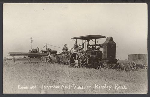 Combined harvester and thresher near Kinsley, Kansas - Page
