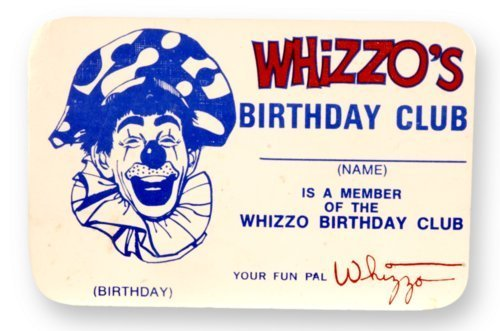 Whizzo the Clown birthday club card - Page