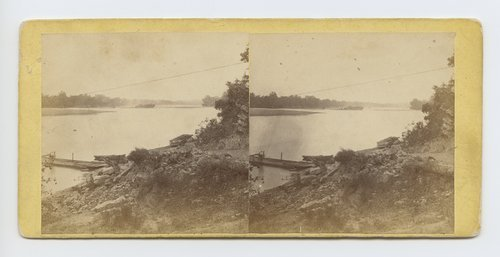 View at ferry across the Kaw at Lecompton Kansas. 338 miles west of St. Louis Mo. - Page