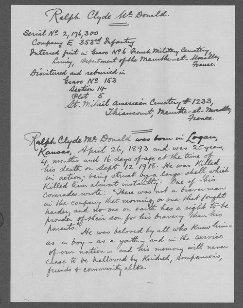 Ralph Clyde McDonald, World War I soldier - Page