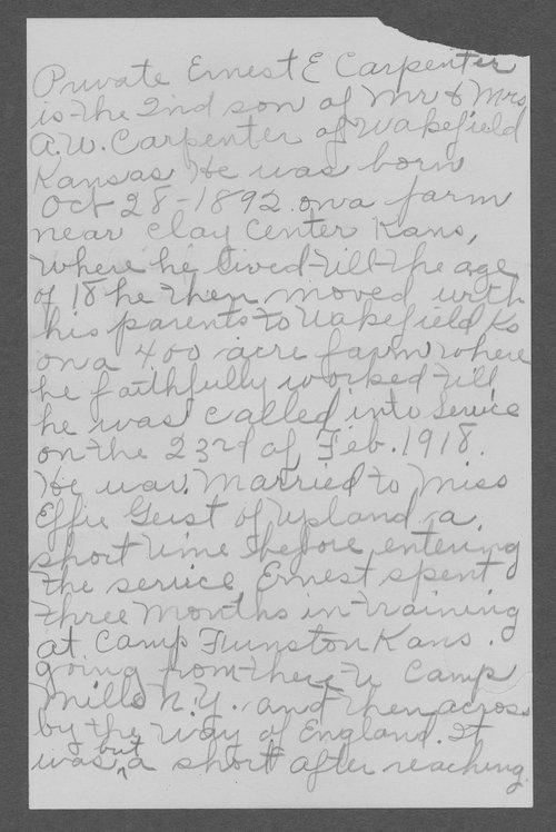 Ernest E. Carpenter, World War I soldier - Page