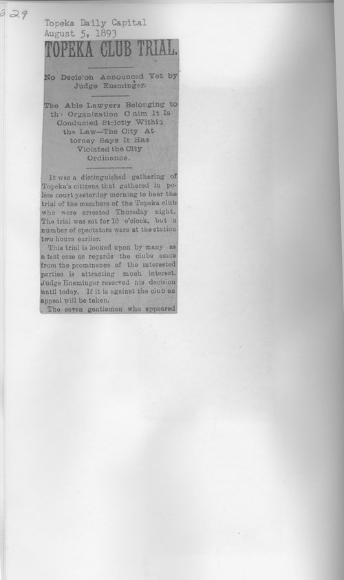 Topeka Club clippings - Page