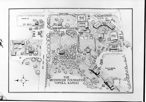 Drawing of the Menninger Foundation grounds in Topeka, Kansas - Page