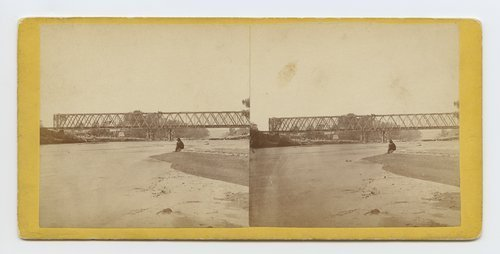 Railroad bridge across the Republican River, Kansas. 421 miles west of St. Louis Mo. - Page