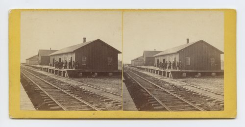 Depot at Junction City, Kansas. 423 miles west of St. Louis Mo. - Page