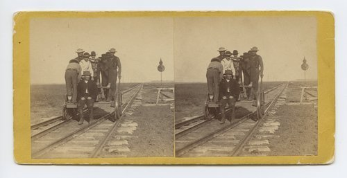 Section men at Salina, Kansas. (The extreme distance is five miles off,) 470 miles west of St. Louis Mo. - Page