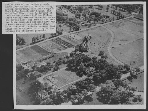 Aerial view of Menninger Sanitarium in Topeka, Kansas, 1932 - Page