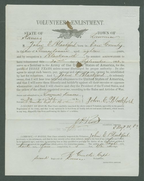 Volunteer enlistment paper of John E. Blackford - Page