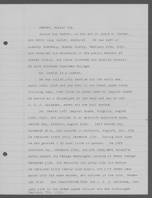 Wilbur Guy Caster, World War I soldier - Page