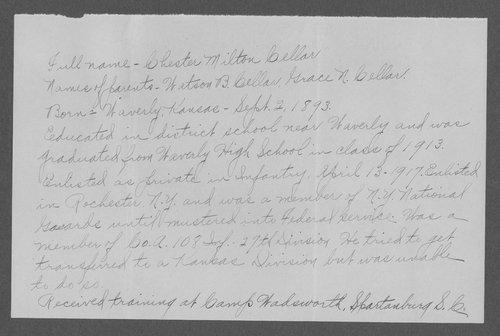 Chester Milton Cellar, World War I soldier - Page