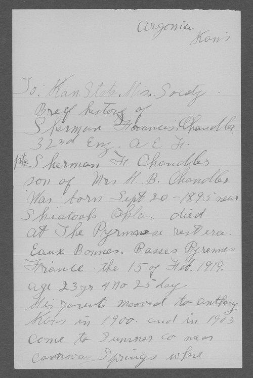 Sherman F. Chandler, World War I soldier - Page