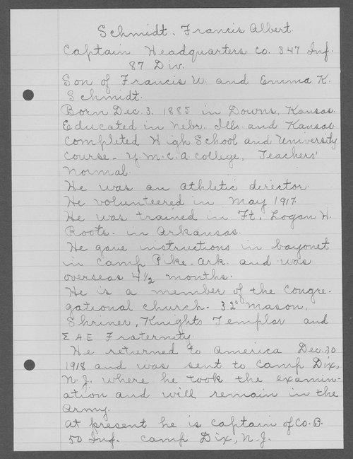 Francis Albert Schmidt, World War I soldier - Page