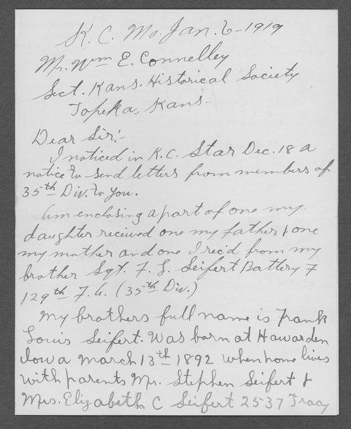 Frank Louise Seifert, World War I soldier - Page