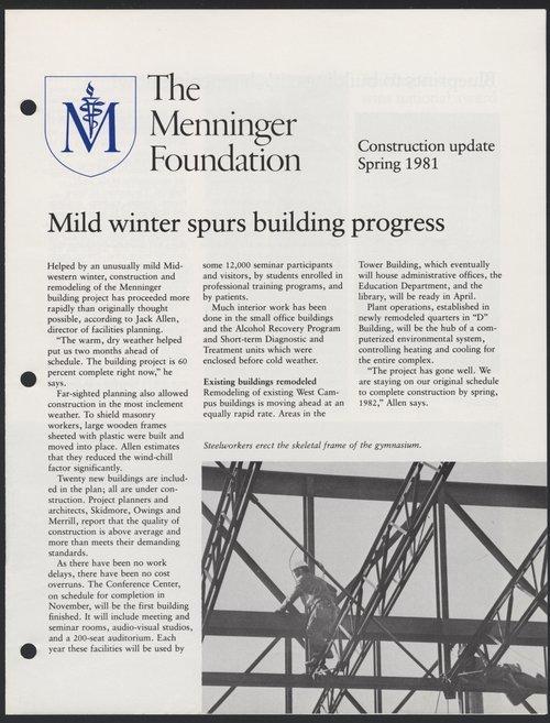 Construction update, Spring 1981,  Menninger Foundation, Topeka, Kansas - Page
