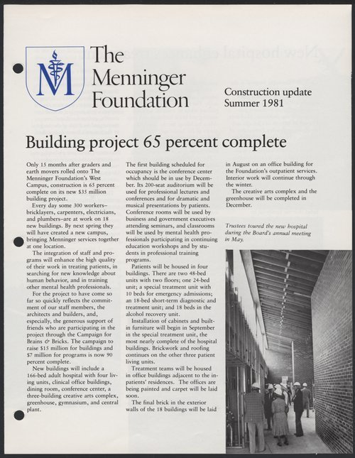 Construction update, Summer 1981, Menninger Foundation, Topeka, Kansas - Page