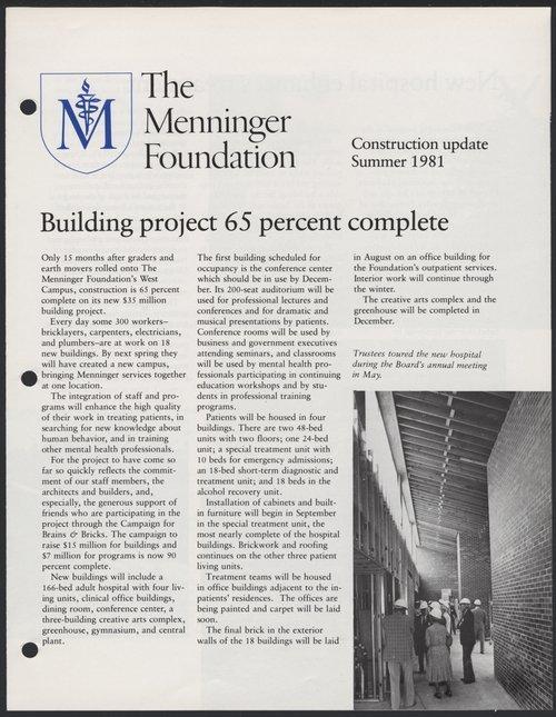 Construction update, Summer 1981, Menninger Foundation, Topeka, Kansas - Page