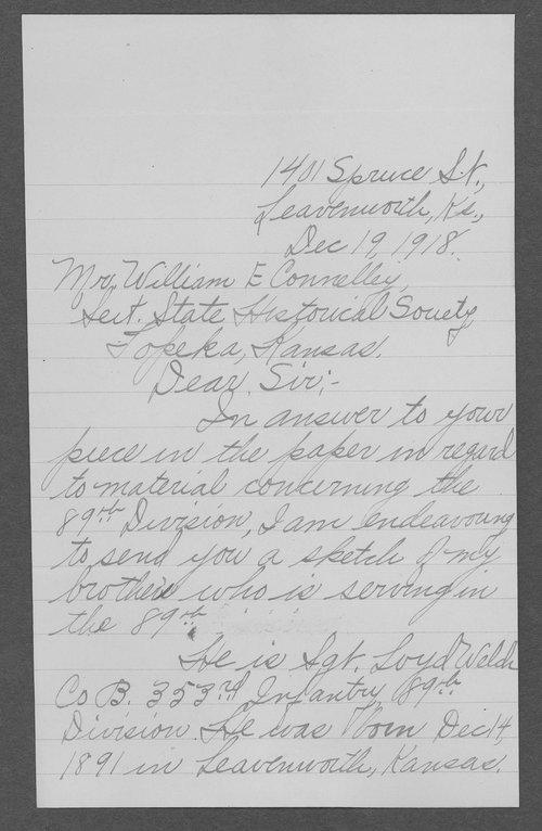 Loyd Welch, World War I soldier - Page