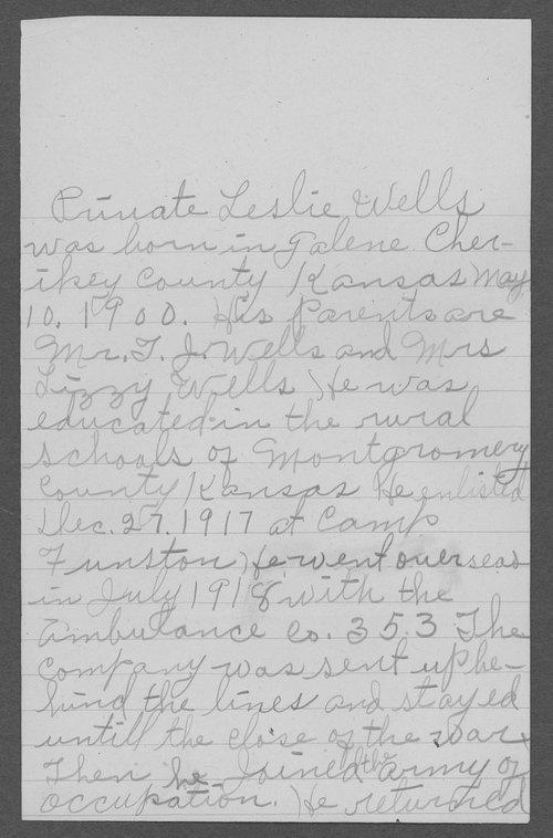 Leslie Wells, World War I soldier - Page