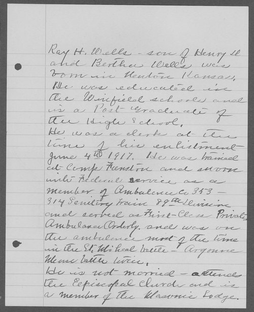 Roy H. Wells, World War I soldier - Page