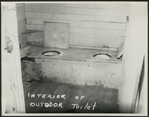 Interior of outdoor toilet at Walker School, Johnson County, Kansas - Page