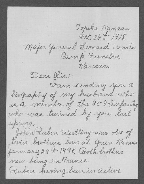 John Ruben Westling, World War I soldier - Page