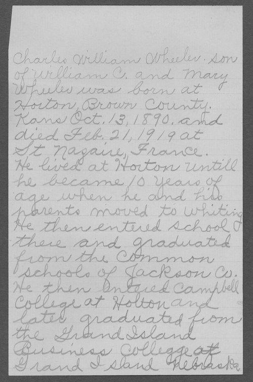 William Charles Wheeler, World War I soldier - Page