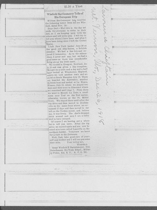 Winfield E. Bartlesmeyer, World War I soldier - Page
