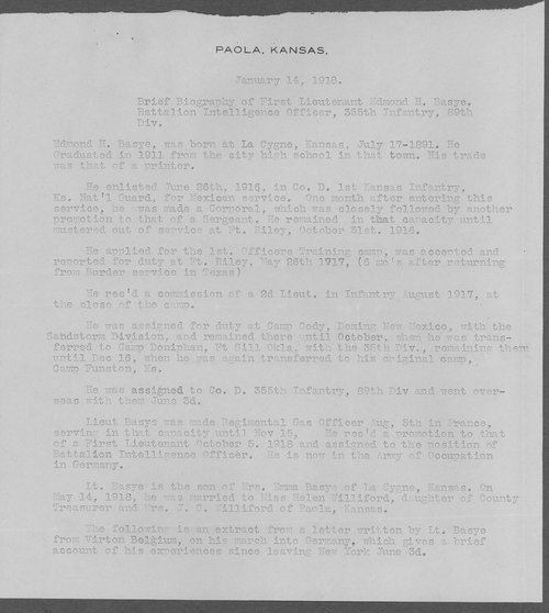 Edmond H. Basye, World War I soldier - Page