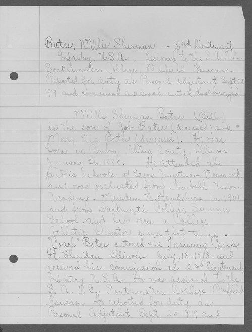Willis Sherman Bates, World War I soldier - Page