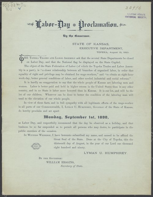 Labor Day proclamation - Page