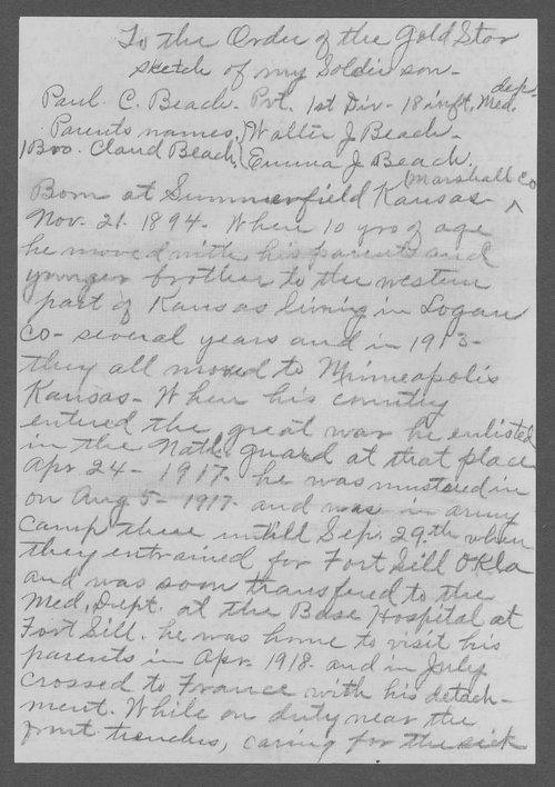 Paul Clifford Beach, World War I soldier - Page