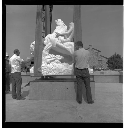 Installing the Great White Buffalo statue at the Kansas State Historical Society - Page