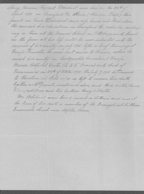 Fredrick B. Behrherst, World War I soldier - Page