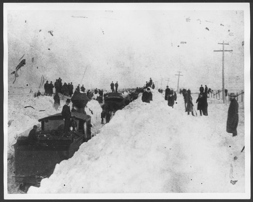 Train stopped in Kansas during the Great Blizzard of January, 1886 - Page