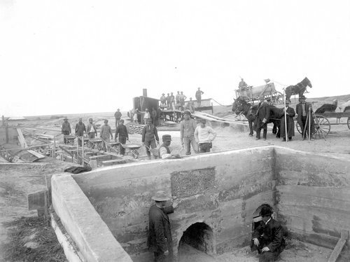 Outlet of reservoir under construction in Finney County, Kansas - Page