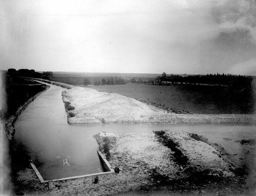 Outlet from reservoir dam looking south in Finney County, Kansas - Page