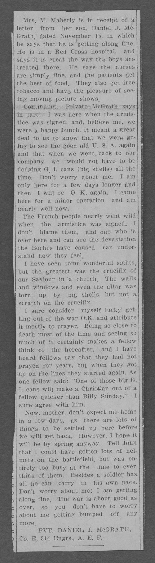 Daniel James McGrath, World War I soldier - Page