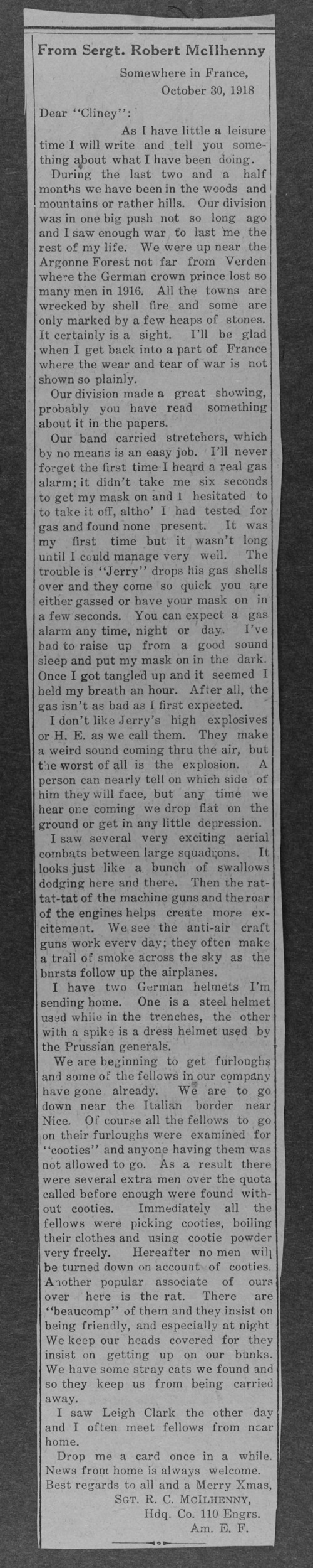 Robert C. McIlhenny, World War I soldier - Page