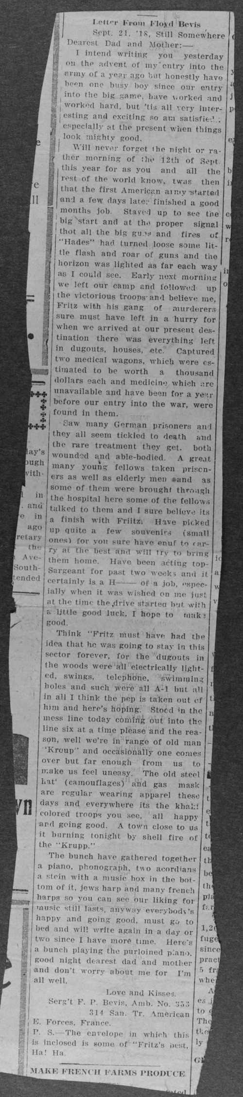 Floyd P. Bevis, World War I soldier - Page