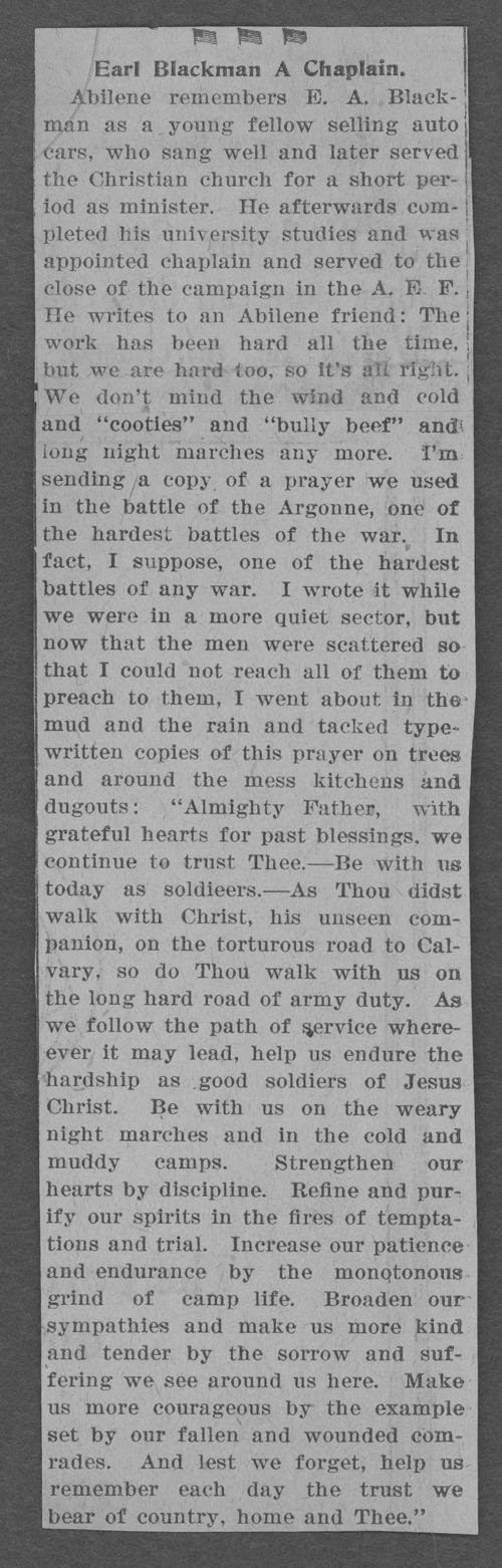 Earl A. Blackman, World War I soldier - Page
